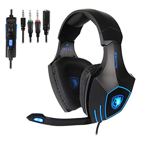 SADES SA819 Gaming Headset for Xbox one PC PS4 Computer Games, Noise Isolation Surround Stereo Soft Earmuffs Over-Ear Headphones with Mic