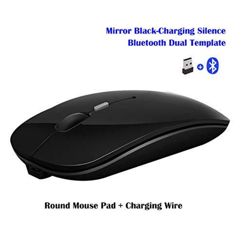 Rabusion Electronics For Wireless Mouse Rechargeable Wireless Bluetooth Dual-mode Mouse Laptop Games Ultra-thin Silent Mouse Black wireless + Bluetooth version