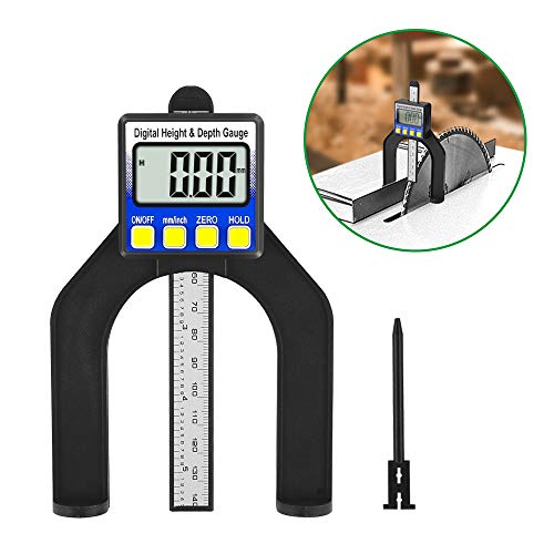 Tiefenmesser, Vivibel 2 in 1-Digital-Tiefenmessgerät/Höhenmessgerät 0-80mm, Digitaler Profiltiefenmesser, Metrisch/Imperial, Perfekt für Holzbearbeitung und Maschinenbau