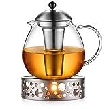 Glastal 1500ml Teekanne mit Stövchen Teebereiter Glas und Edelstahl Teewärmer