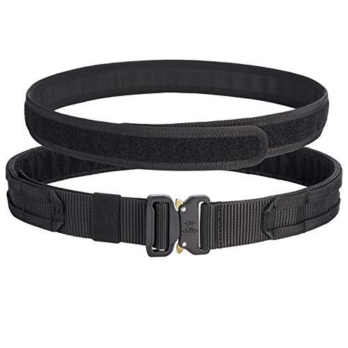 Vianyer Tactical Molle Belt Rigger's Belt Heavy Duty Belt Gear Modular Belt with Quick Release Buckle 1.75' Outer Belt & 1.5' Inner Belt (Black, L(34'-37'))