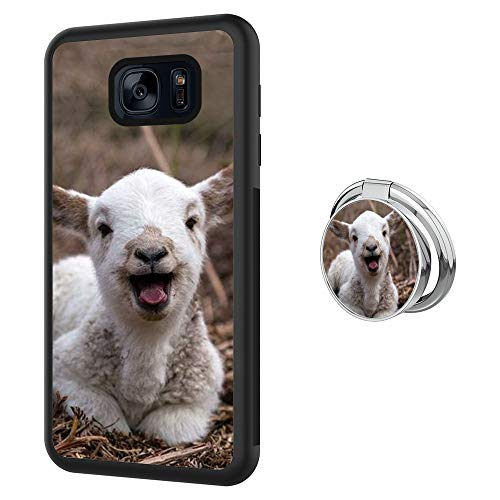Case for Samsung Galaxy S7 with Ring Frame,Goat Design Shockproof Non-Slip Durable TPU Soft Material,Phone Case for Samsung Galaxy S7