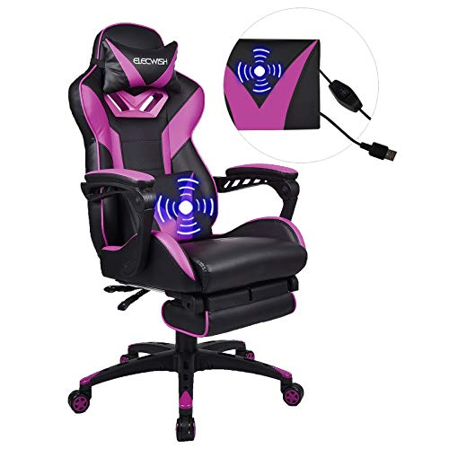 YOURLITEAMZ Racing Gaming Chair with Massage, Office Ergonomic Computer Desk Chair with Padded Footrest Support, Swivel High Back Recliner, High-Adjustable Cushion, PU Leather for Home Office(Purple)