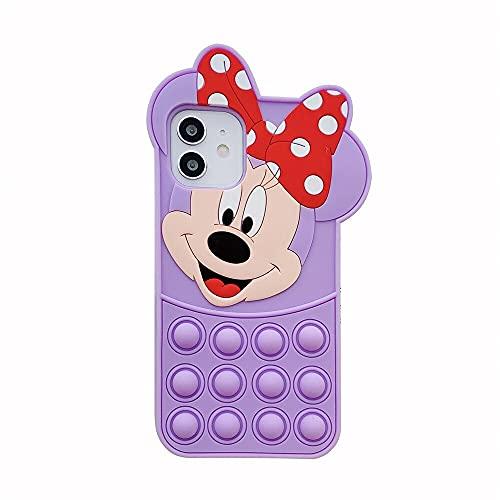 HBDY Descomprimir la funda del teléfono, compatible con iPhone 6/7/8/11Pro Push Pop Bubble Sensory Fidget Juguetes Silicona Teléfono Móvil Carcasa Protectora para iPhone 6 Plus, B)