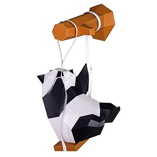 WXMYOZR Panda DIY Handmade DIY Kreativer 3D Panda Ornament Tierraumdekoration Geometrische Nord Unregelmäßige Keine Notwendigkeit, Pre-Cut Zu Schneiden Und Erzielte Papiervorlagen,A
