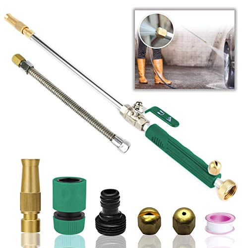 Hydro Jet High Pressure Power Washer Wand for Car Washing or Garden Cleaning, Heavy Duty Metal Watering Sprayer with Universal Hose End, Hydrojet Water Power Nozzle (Basil Green)
