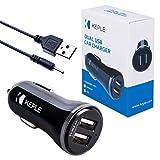 Dos Puertos en Car Carger + Small Pin Cable USB | Convertidor de Carga de Socket USB Doble Compatible con Nokia 6111, 6120, 6121, 6125, 6131, 6136 | 2x 2.4A (12 / 24V) Adaptador de Carga (0.6m / 2ft)