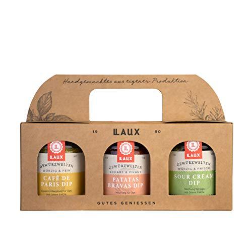 LAUX Dippen & Würzen Geschenkset mit Café de Paris Dip, Patatas Bravas Dip und Sour Cream Dip in Edler Geschenkbox