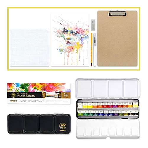 Mungyo Professional Solid Water Colors Set of 24 with Painting Materials (Water Brush, Pencil, Eraser, Clip Board, Towel, Paper)