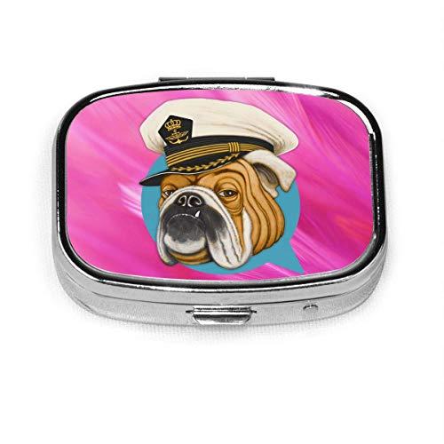 Bulldog Fashion Square Pastillero Vitamina Medicina Soporte para tableta Cartera Organizador Estuche