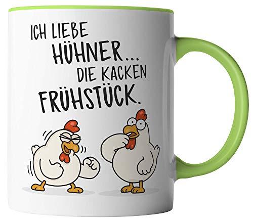 vanVerden Tasse - Ich liebe Hühner. Die kacken Frühstück - beidseitig Bedruckt - Geschenk Idee Kaffeetassen, Tassenfarbe:Weiß/Grün