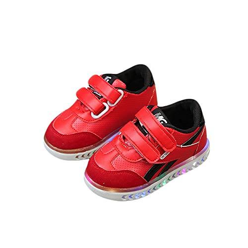 RZJF Kinder Helle LED-Turnschuhe, Glänzend Mode Schuhe Mit Aufkleber Normallack Zum Ausgehen Boden Turnschuhe Geeignet Blinken,Rot,27