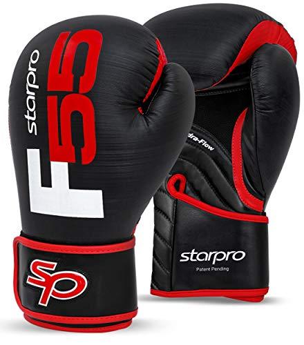 Starpro F55 Fusion Guantes de Boxeo | Cuero Cronos sintético de Primera Calidad |Negro y Rojo| para Entrenamiento Profesional y Sparring en Muay Thai Kickboxing Fitness boxercise |Hombres y Mujeres|