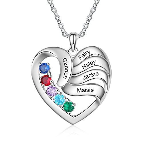 Albertband Personalisierte Mutter Name Herz Halskette 2/3/4/5 Simulierte Birthstones 925 Sterling Silber Mutter Kind Halskette für Ehefrau...