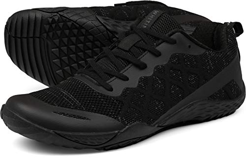 WHITIN Men's Barefoot Trail Runner Shoes Minimalist 5 Five Fingers Wide Width Toe Box Size 11 Low Zero Drop Male Parkour Road Sport Toe Box Gym Workout Cross-Trainer Breathable Black Grey 45