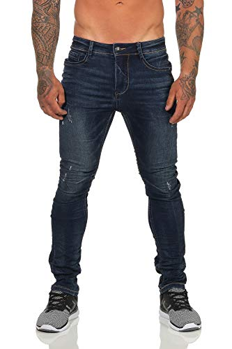 Urban Surface Herren Jeans Sweathose in Jeansoptik Herrenhose Slim Fit Jogginghose 35 (W32/L34, Dark Blue)