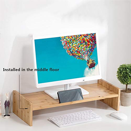 Bureau Monitor Standaard, Bamboe Hoogte Verstelbare Bureau Plank Organizer Veelzijdig Als Opslag Plank & Scherm Houder 60x25x14cm(24x10x6inch) primary color C