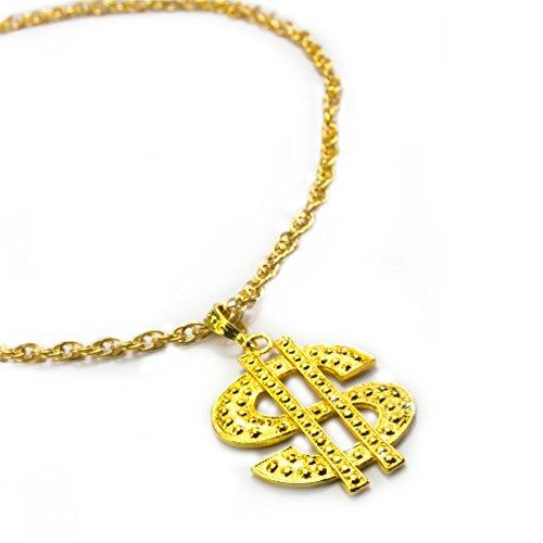 Oblique-Unique® Kette Dollar Zeichen Rapper Goldene Millionär Gangster Kette - Satter Goldlook - Perfekt zum Protzen