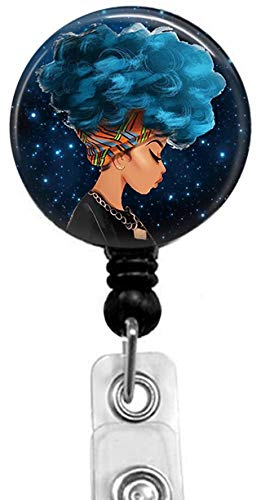 Cool Girl with Blue Hair Retractable ID Card Badge Holder with Alligator Clip, Medical Nurse Badge ID, Office Employee Name Badge