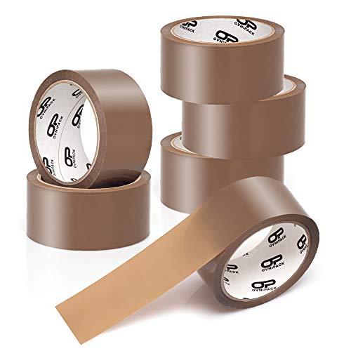 OVNIPACK | Klebeband braun | Bewährtes Tape, Paketband, Paketklebeband, Verpackungsmaterial & Packband | 6 Rollen jeweils 66m lang & 48mm breit | Ideal für Karton, Stretchfolie, Verpackungsfolie