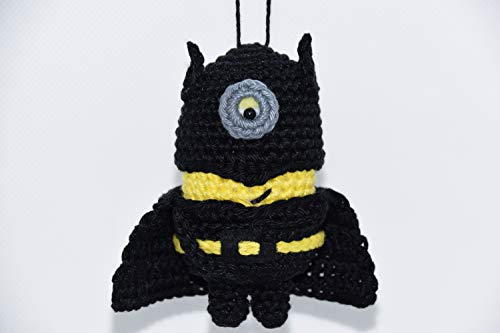 Berger Designs - Mel Ambiance Minion Batman handgehäkelt, Schlüsselanhänger