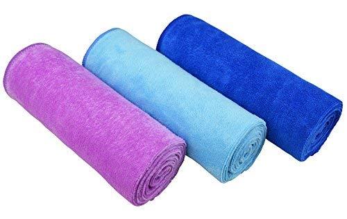 MAYOUTH Mikrofaser Handtuch Set für Sauna Fitness Sport, Schnelltrocknende Handtücher aus Microfaser, Unisex Sporthandtuch 3-Pack 40cm X80cm (Dunkelblau+Blau+Rose 3Pack)