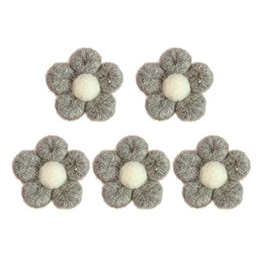 TOYANDONA 5Pcs Filz Blumen Stoff Blumenverzierungen Neuheit Blume Brosche Pin Schmuck Zubehör für Kinder Kleid Jacken Rucksäcke Hüte Taschen