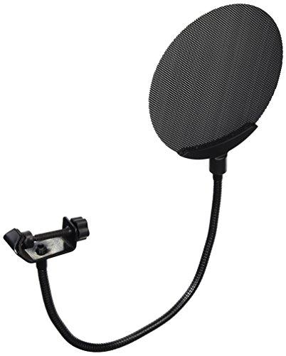 "Dragonpad pop filter 5.4"" Studio Clamp On Microphone Pop Filter Metal Screen Mic Windscreen, Swivel Mount, 360 Flexible Gooseneck Holder - Black"