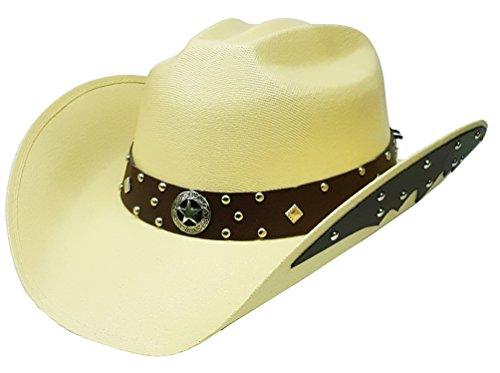Modestone Unisex Sombrero Vaquero Side Brim Leather Look Appliques Light Tan (Ropa)