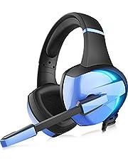 【虹色 LED 】 ゲーミングヘッドセット ps4 ヘッドセット GM-7 LED マイク付き 有線 軽量 通気 高音質 ノイズキャンセリング ゲーミングヘッドホン 重低音強化 騒音 抑制 伸縮可能 3.5mm FPS ゲーム用 PC用 ヘッドフォン 男女兼用 Xbox One/PUBGに最適 (ブルー)