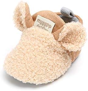 Cálidos Botines de Lana Bebé Invierno Zapatillas Soft Sole Crib Caliente Zapatos de Niñas Algodón (0-6 Meses, Caqui, Tamaño de Etiqueta 11)