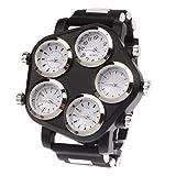 Uhren Einzigartige Stilvolle Große 5 Vorwahlknopf-Platte Quarz Analog Armbanduhr (rot) Asun (Color : Black)