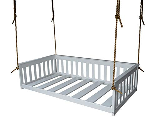 A&L Furniture VersaLoft Amish-Made Pine Twin Mission Swingbed with Rope, White