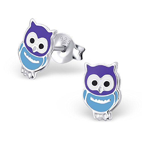 Laimons Kids Orecchini a pressione per bambini gioielli per bambini Gufo Blu, Viola Argento Sterling 925