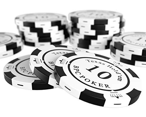 Bullets Playing Cards - 20 Clay Pokerchips Carmela für Pokerset - Wert 10 - 14g - 4cm Durchmesser - Farbe Weiß - Schwarz