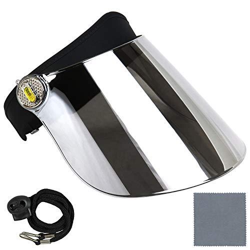 Sun Visor Hat Cap UV Protection - Premium Adjustable Solar Headband Face Shield (Black/Mirror)