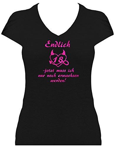Rahmenlos - Camiseta divertida de cumpleaños para mujer con texto en alemán 'Endlich 18 Jetzt muss ich nur noch erwachsen werden' Rosa brillante. 38/40 EU