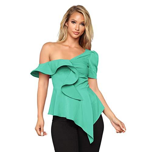 TWIFER Damen Sommer Eine Schulter Kurzarm Bluse Ärmellose Crop Tops Shirt