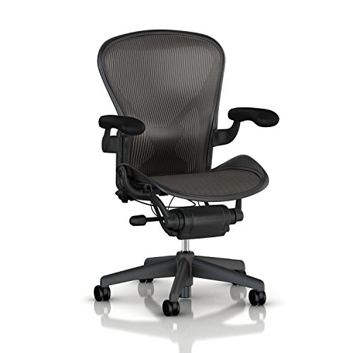 Hot Sale Aeron chair by Herman Miller Adjustable model w/Posturefit and Fully adjustable arms with Translucent H9 Hard Floor Casters - Large Size (C) Graphite Dark Frame, Classic Dark Carbon Pellicle Mesh Home Office Desk Task Chair