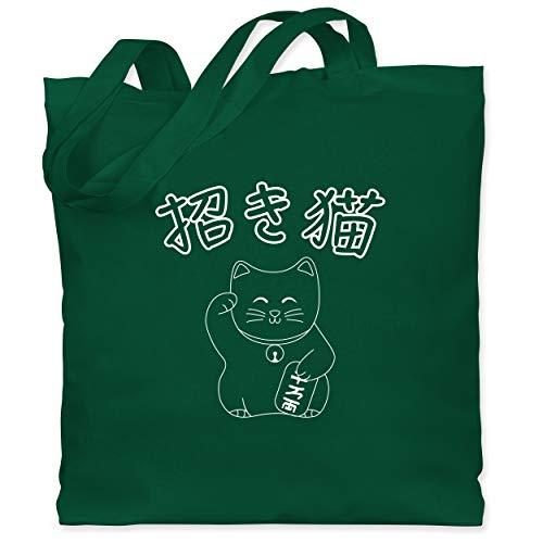 Shirtracer Katzen - Winkekatze- Japanisch - Unisize - Dunkelgrün WM101 - Stoffbeutel aus Baumwolle Jutebeutel lange Henkel