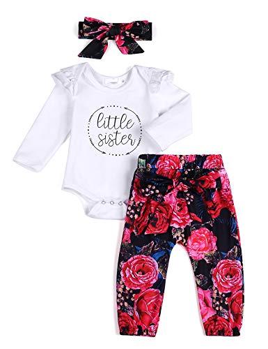 Arshiner Baby Mädchen Kleidung Babykleidung Set Langarm Romper Floral Hose Stirnband 3 Stück Kleinkind Neugeborene Weiche Strampler Bekleidungsset für 0-24 Monate