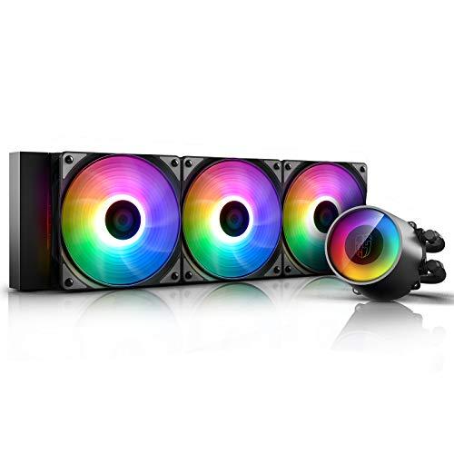 DEEP COOL Castle 360 RGB V2, AIO Refrgeración Líquida CPU,Bomba y 3 Ventiladores de RGB Direccionable, Controlador de Cable Incluido,Garantía de 3 años