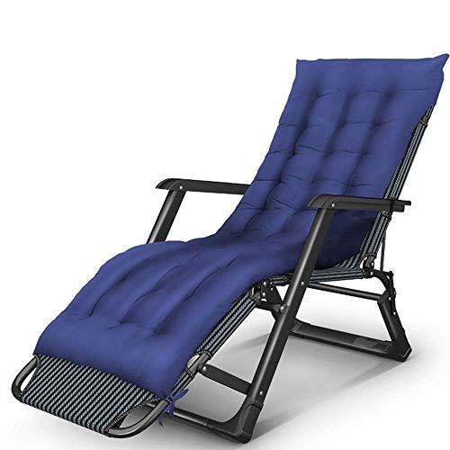 JGWJJ Sillón reclinable Ajustable Zero Gravity para Todas Las Estaciones con cojín de Gamuza Desmontable (Color : Azul)