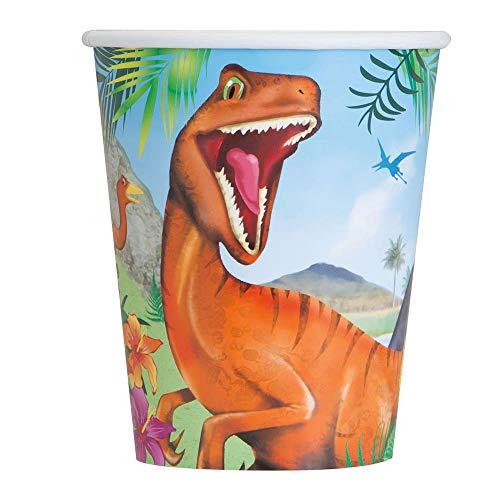 Unique Party- Vasos de Papel Fiesta de Dinosaurios, 8
