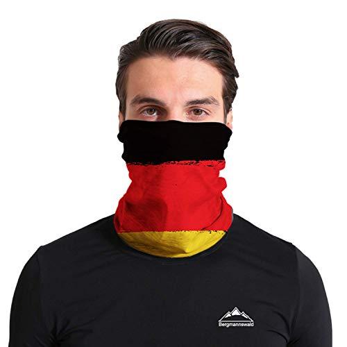Bergmannswald® umgenähtes Multifunktionstuch - atmungsaktiv und flexibel - Ideal zum Sport, Reisen oder Motorradfahren (Deutschland Flagge, 1er Pack)