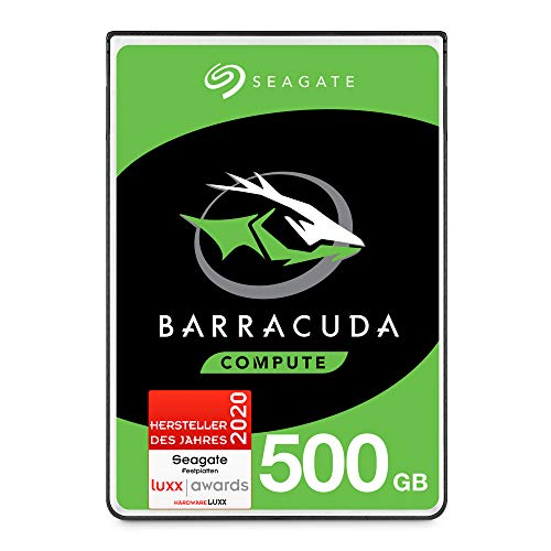 SeagateBarracuda, interne Festplatte 500 GB, 2.5 Zoll, 5400 U/Min, 128 MB Cache, SATA 6 Gb/s, silber, Modellnr.: ST500LMZ30, (Verpackung kann variieren)