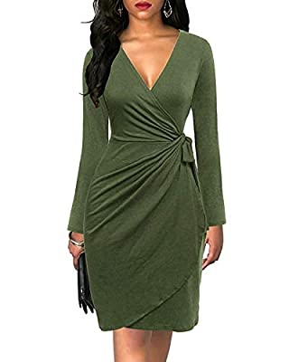 Womens Cocktail Party Dress Deep V Neck Draped Waist Tie Belt Faux Wrap Midi Dress