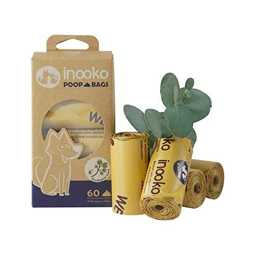 inooko - 60 Sacs a Crottes pour Chien, Grand, Ultra Résistant, Biodégradables et Parfumés à l'Eucalyptus, 4 Rouleaux (Soit 60 Sacs)