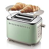 Kylinkkx Tostadoras de acero inoxidable de 2 rebanadas con 2 ranuras extra anchas Bandeja de migas extraíble para el desayuno Pan Muffins Hornos Tostadoras con descongelamiento Recalentar la función d