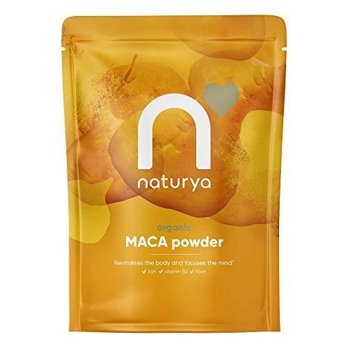 Naturya | Peruvian Organic Raw Maca Powder 300g | Certified Organic, Vegan & Kosher Superfoods | Packed with Vit B2, Iron & Fibre